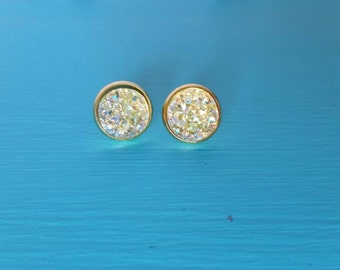 Faux Druzy Lemon Ice 12mm Studs - Gypsy - Boho - Bohemian Earrings - Yellow Studs