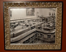 Mid Century Framed 1950's Diner / Ice Cream Parlor Photograph