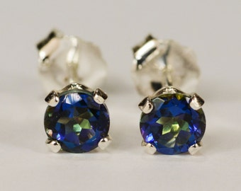 Mystic Blue Topaz Earrings~.925 Sterling Silver Setting~4mm Round~Genuine Natural Mined
