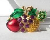 Vintage Fruit Brooch, Grape Brooch,  Apple Brooch, Pineapple Brooch, Large Brooch, Colorful Jewelry, Food Jewelry, Purple Red Jewelry