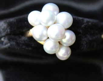 On Sale!! Vintage MING'S of Honolulu 14k Yellow Gold Cluster 9 PEARL Ring