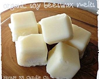Choose TWO Soy Beeswax Tart Melts, soy wax organic scented tart Melt cubes infused with essential oils, Wax burner Melters, natural dyefree