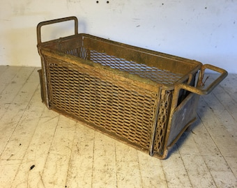 "Vintage industrial wire dipping baskets 13.5"" x 6"" x 6"" perfect for herbs and garden"