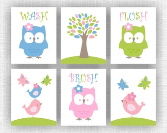 Owl, Tree, Birds, Butterflies, Wash Brush Flush, Girl Bathroom Decor wall art Set of 6, 8x10,  Nursery Printable INSTANT DOWNLOAD
