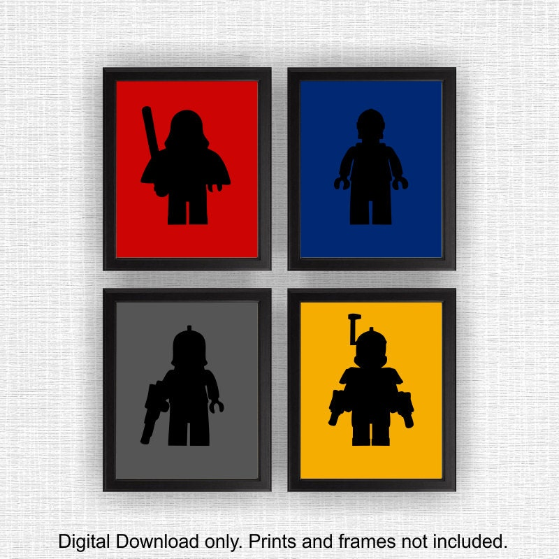 lego star wars silhouette stencil boy room playroom decor art. Black Bedroom Furniture Sets. Home Design Ideas