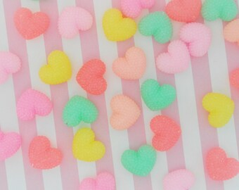 19mm Pastel Pink Faceted Surface Heart Flatback Resin Decoden Cabochon - 6 piece set