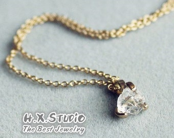 Solid 18k Gold White Crystal Pendant/Necklace, Handmade Raw Crystal Rock Necklace, Unique Gift
