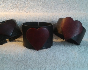 Leather Heart Cuffs