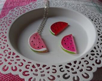 Glitter Watermelon Necklace Pendant