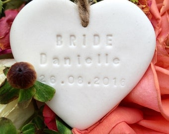 Personalised bride gift tag  porcelain