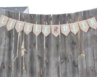 Baby Shower Decor- Little Deer Burlap Banner- Nursery Decor- Baby Girl- Baby Boy- Baby Shower Garland- Gender Neutral- Gender Reveal- Photos