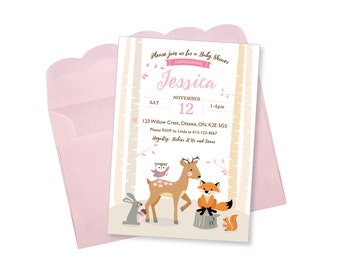 Woodland Baby Shower Invitation / Pink / Blue / Yellow / Woodland Animals Invite / fox, deer, rabbit, squirrel, digital invitation