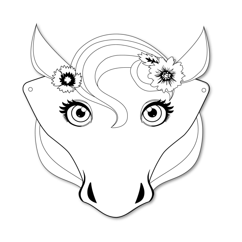 4 Horse Masks, DIY paper horse masks, party favor, plus ...