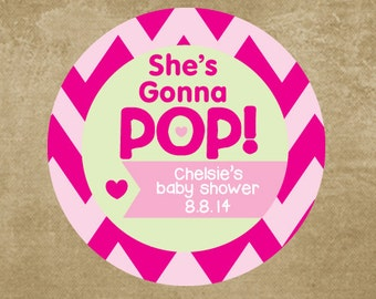 Shes Gonna Pop Baby Shower Stickers, Personalized, Baby Shower Favor Stickers for New Mom, Pink Chevron