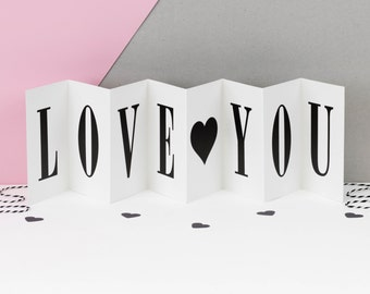 Valentine Card; Think I Love You; Black and White Concertina Love Card; Banner Card; Valentine's Day Card; Love Card; CC003