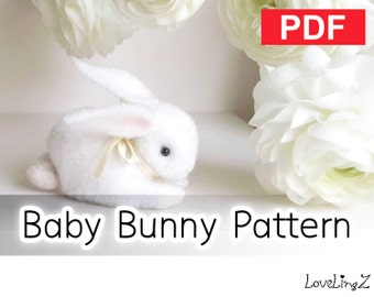 Sewing Pattern, PDF  --  Felt Baby Bunny --  Instant Download, Tutorial, DIY, LoveLingZ
