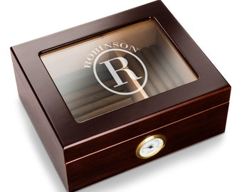 Personalized Glass Top Cedar Cigar Humidor - Monogrammed Mahogany Humidor - Monogrammed Groomsman Gifts - Father's Day Gifts - RO154