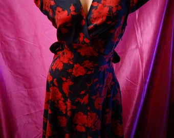 Moda International red black rose dress 100% silk housewife pinup rockabilly size 12