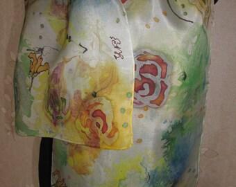 Hand painted 100% real silk scarf  14 х 55 inc. Батик шарф 35 х 140 см
