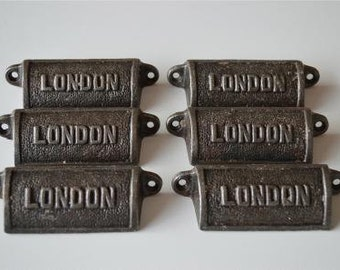 Set of 6 vintage style cast iron London drawer pull handles LON