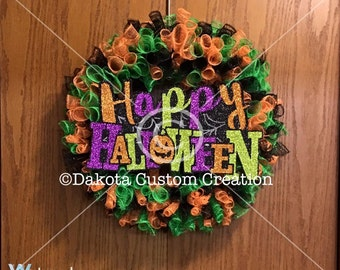 Halloween Curly Wreath - Halloween Spiral Wreath - Halloween Door Decoration - Halloween Mesh Wreath -Halloween Party Decoration-Fall Wreath