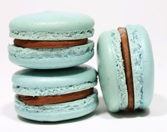 Chocolate Mint Ganache French Macarons --  Gift Box of 10 Cookies-- Best French Macaron-Agua Teal Blue Edible Macaroons Bisou Bisou