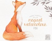 Watercolor fox: hand painted fox clipart / woodland nursery art / animal clip art / childrens birthday / baby birth announcement / CM0084
