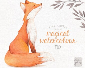Watercolor fox: hand painted fox clipart / woodland nursery art / animal clip art / childrens birthday / baby birth announcement / CM0084