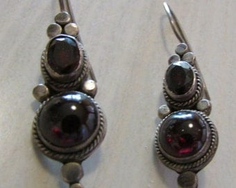 Sterling Silver and Garnet Dangle Wire Earrings
