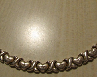 Sterling Silver Heart and X Link Bracelet