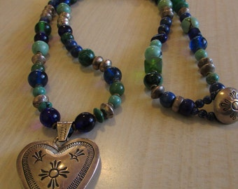 Sterling Silver Puffed Navajo Style Heart and Green and Blue Bead Necklace