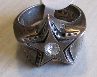 Sterling Silver and CZ Star Ring Size 9