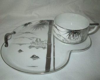 Beautiful Hahusan Vintage Tea Cup and Snack tray plate Fine Bone China Japan White with Silver Bamboo & landscape