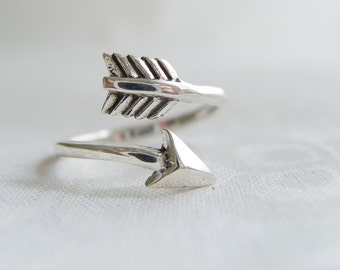 Open Wrap Arrow Ring, Sterling Silver Arrow Ring, Arrow Ring, Sterling Silver Rings For Women, Silver Wrap Ring, Bypass Arrow Ring, Boho