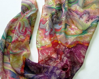Silk Scarf tulips, hand painted, painting on silk, flowers silk scarf, red, blue-violet,green. Ready to ship.