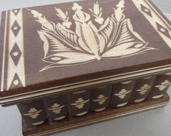 Brown Puzzle Jewellery Box with Secret Compartment, Hidden Lock and Key