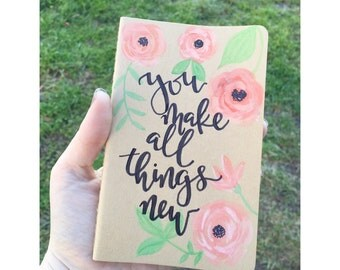 Hand Painted Mini Notebook // Hand Lettered Notebook //