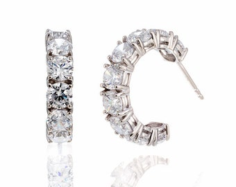 Round Cut 5A Cubic Zirconia Petite Hoop Earrings White Gold Plated Silver