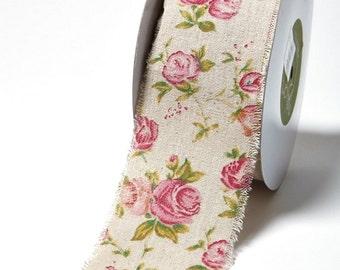Bertie's Bows Vintage Rose Burlap Ribbon 50mm