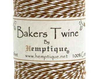 5 Meters Of Hemptique Bakers Twine In Light Brown & White, Twine, Crafting Supplies Decorations Gift Wrapping