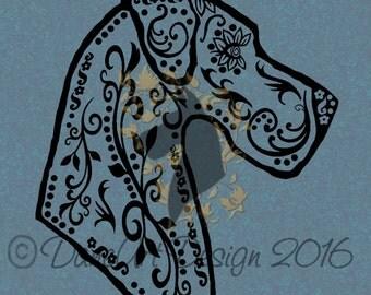 Great Dane Sugar Skull In Profile Decal - Natural Ears From DaneArt Design