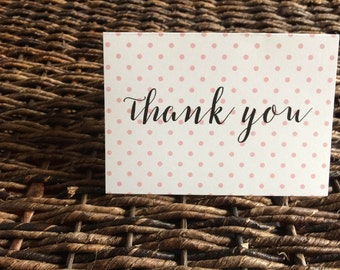 Polka Dot Thank You Cards, Set of 10 Thank You Cards, Special Occasion or Everyday Use Thank You Notes