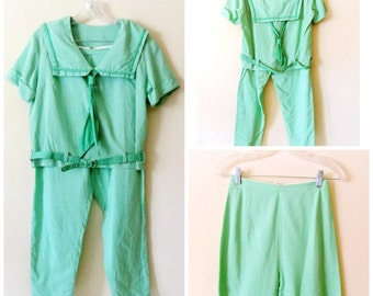 60s Green Sailor Suit, Green, White, Gingham, 1960s, Sailor Suit, Set, Matching Belt, Size Small, Vintage Handmade, Womens Vintage Clothing