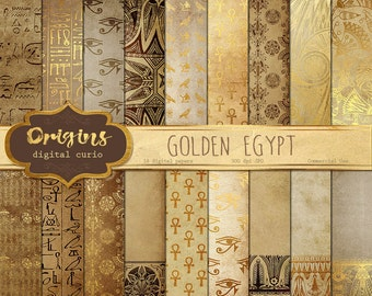 Golden Egypt - Egyptian Digital Paper, Hieroglyphics Scrapbook Paper, Papyrus Vintage Antique Egypt Patterns, Digital Gold Foil Leaf Overlay