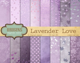 Lavender Love Digital Paper, purple valentine grunge textures scrapbook paper, vintage lilac Valentines Day scrapbooking hearts backgrounds