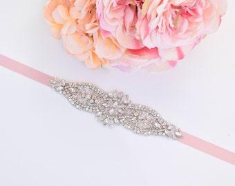 Bridal Belt-Bridal Sash-Rhinestone and Pearl Belt-Wedding Belt-Bridesmaids Belt-Rhinestone Applique Belt -EYM B085