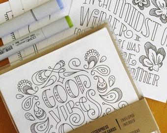 Letterpress Hand-Lettered Coloring Card Pack (6 Unique Designs)