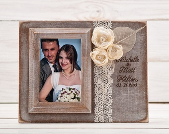 Personalized Wedding Picture Frame Rustic Wedding Photo Frame Personalized Wedding Gift