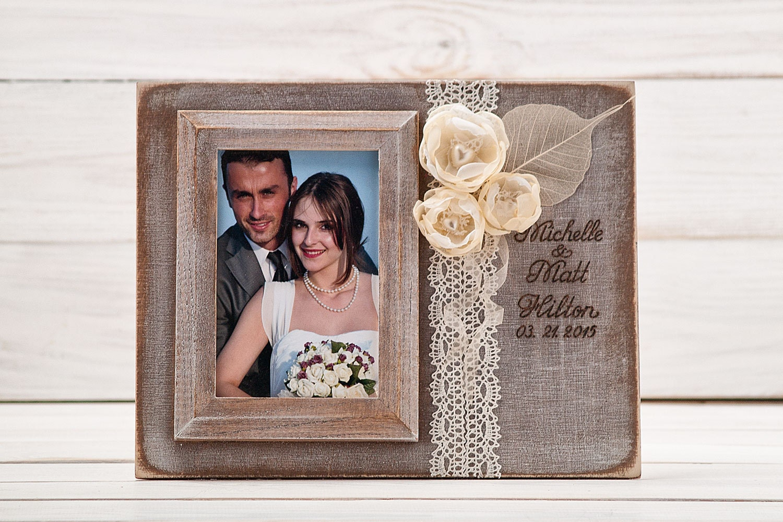 Engraved Wedding Photo Frames : Personalized Wedding Picture Frame Rustic Wedding Photo Frame