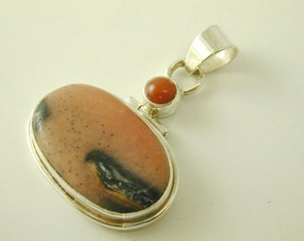 Rhodonite silver pendant large oval pendant sterling silver 11.4 grams